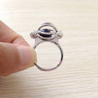 Wholesale cage rings - 18KGP Pearl Gem Beads Cage Ring, Can Open And Hold Bead Adjustable Size Ring Jewelry