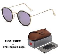 ingrosso moda nuova occhiali-New Fashion Round Occhiali da sole Uomo Donna Brand Designer Eyewear Occhiali Specchiati Occhiali da sole uv400 Occhiali con astuccio e astuccio