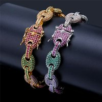 herren silberne armbandentwürfe großhandel-Bunte Zirkonia Hiphop Armband Ketten Gold Silber Hip Hop Schmuck Marke Design Herren Gliederkette