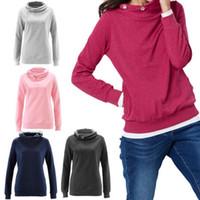 Wholesale lady brand cotton sweatshirts - Women Long Sleeve Hooded Hoodies Solid Color Pullover Coat Sweatshirt Ladies Jumper Sweater Pocket Tops OOA4059