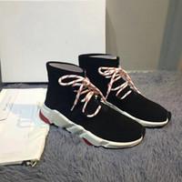 ingrosso grandi calze calze-Nuovi famosi Speed Trainers con lacci e suola tricolore di lusso scarpe firmate di lusso di alta qualità Calza in maglia con lacci bicolore taglia grande 46
