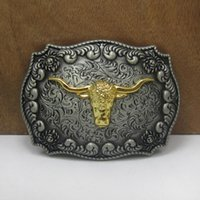 toro occidental al por mayor-Hebilla del cinturón occidental BuckleHome con cabeza de toro con acabado en oro y peltre FP-03522 con envío continuo continuo