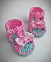 sandalias de ganchillo recién nacido al por mayor-Sandalias de bebé de banda, zapatos de bebé de ganchillo, sandalias de niña, zapatos de saummer, lazo rosa, cumpleaños, regalo recién nacido 5 pares / 10 piezas