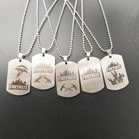 Wholesale keychain necklaces - Classic FPS Game Fortnite Logo Necklace Stainless Steel Pendant Laser Printing Personal Jewelry Keychain for Men Women Souvenir Gifts 2018