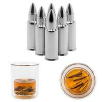 ingrosso utensili per whisky-Acciaio inossidabile Ice Cube Vino whisky Pietre a forma di proiettile Refrigeratore Whisky Raffreddamento pietra birra Chiller Bar Tool