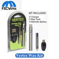 Wholesale Variable Voltage Vapor Kit - Preheating Vertex Premium Wax Vape Pen Starter Kit 3.4-3.7-4.0V Variable Voltage Preheat Battery E Cig Wax Vapor Vaporizer