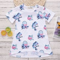 Wholesale neck ring dress - Girls Flower Ring Printed Dresses Summer 2018 Kids Boutique Clothing Euro America INS Hot Sale Little Girls Short Sleeves High-Low Dresses