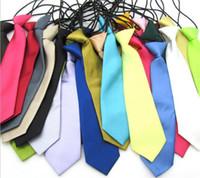 bebek kravat toptan satış-200 adet 25 renkler Erkek Bebek Okul Düğün Elastik Kravatlar boyun Bağları-Katı Düz renkler Çocuk Okul Kravat boy Y193
