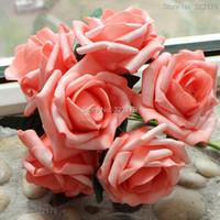 flores de coral artificiales para boda al por mayor-Flores Artificiales de Coral 72pcs Flores Nupciales Ramo de Boda Floral Decoración Decorativa Coral Boda Centro de Mesa Flores Decorativas