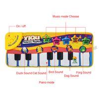 tapetes de música venda por atacado-Novo bebê infantil piano tocando brinquedo com música engraçada e sons de animais rastejando Mat Bay Kids Educacional Presente 72 * 29 cm