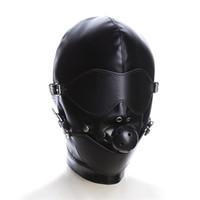bıkmış maske esaret toptan satış-Kölelik Restraint Hood Maske Seks Oyuncakları Ağız Topu Gag Ile Headband BDSM Erotik PU Deri Seks Hood Yetişkin Oyunları Için Seks SM Maske