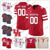 nom de cas achat en gros de-Personnalisé Houston Cougars College Football Cousu N'importe quel Numéro Nom Rouge Blanc Gris # 7 Case Keenum 10 Ed Oliver 4 Maillot D'Eriq King UH
