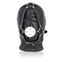 Wholesale Gag Hood - Newest Fetish Leather Bondage Hood Open Mouth Sex Slave Gag Mask BDSM Bondage Restraints Erotic Sex Toys For Couples,Adult Game