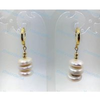Wholesale mother pearl flower buttons - New AAA 12-13mm White South Sea Button Bizarre Hoop Earrings 14K Yellow Gold