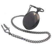 reloj steampunk mecánico negro al por mayor-Elegante Negro Suave Steampunk Hand Wind Reloj de bolsillo mecánico para hombre Roman Number Dial W / Chain Full Hunter Watch