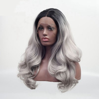 Wholesale silver wigs for women - Synthetic Lace Front Wig Long Body wave Glueless Heat Resistant Fiber Natural Fully Hair Wigs Black Ombre Silver Grey Wig For Women