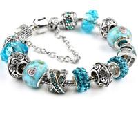 b623ed326 Wholesale 20cm 925 Sterling Silver Murano Lampwork Crystal European Charm  Beads Safety Chain Fits European Charm Pandora Style Bracelets