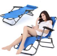 banco de dobramento de tripé venda por atacado-Gravidade zero Reclinável Dobrável Pátio Espreguiçadeira Espreguiçadeira Ao Ar Livre Azul Reclinável Cadeiras Piscina Praia Assento Portátil