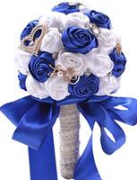 creme de seda perolada venda por atacado-Flores artificiais Clearbridal Silk Rose nupcial do casamento Bouquet WF036RB