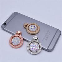 soporte de anillo de cristal al por mayor-Bling Gemstone Crystal Finger Ring Phone Holder 360 Degree Metal Round Stand Soporte Universal para Smart Cell Phone 3 Colors