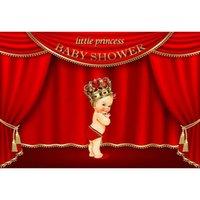 rotgoldvorhänge großhandel-Kundengebundene kleine Prinzessin Baby Shower Backdrop Printed Red Curtain Gold Crown Mädchens Geburtstagsfeier Photo Booth Hintergrund