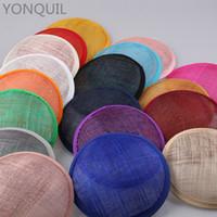 sinamay şapkalar büyüleyici toptan satış-17 Renkler 13 CM Yüksek kalite sinamay yuvarlak fascinators bankası kadın düğün parti kraliyet bankası aksesuarları şapkalar el yapımı 12 adet / grup