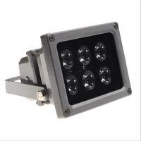 cctv sensörleri toptan satış-Açık su geçirmez IP65 6 adet LED Kızılötesi Gece görüş aydınlatıcı Lamba Fotosel ile (Işık Sensörü) Anahtarı CCTV Kamera için Işık Doldurun