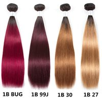 Wholesale blond human hair weave resale online - Ombre Brazilian Straight Hair B J B Bug Two Tone Human Hair Bundles B ombre Blond Hair Color B Bundles Extension