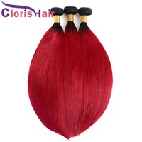 Wholesale two tone hair weave sale resale online - Dark Roots B Red Silky Straight Ombre Weave Bundles Peruvian Virgin Human Hair Extensions Cheap Two Tone Black Red Ombre Weft On Sale