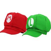 Wholesale Super Mario Bros Caps - New 10pcs Lot Super Mario Bros Mario and Luigi Plush Cosplay Hat Red Green Hat Cap Baseball For Gifts