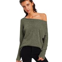 ingrosso camicia da donna pipistrelli-Loneyshow Womens Sexy Off spalla Estate Casual T-Shirt Slash Neck Bat Sleeves Tops larghi