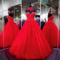 espartilho de lantejoula vermelho doce venda por atacado-2018 luxuoso vestido de baile vermelho quinceanera vestidos querida com espartilho sem encosto apliques lantejoulas contas longos sweet 15 vestidos de festa pageant