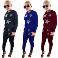 Wholesale yoga pants rhinestones for sale - women piece set tracksuit hoodie legging outfits long sleeve shirt pants sweatsuit pullover tights sportswear fashion sports suit hot v5