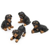ingrosso animali domestici in miniatura-4 pz Resina Rottweiler Cani Micro Paesaggio Decor Pet Puppy In Miniatura Casa Giardino Ornamento Bonsai Terrario Figurine Home Decor