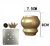 Wholesale Cabinet Solid Wood - 4PCS LOT H:8CM European American imitation gold solid wood sofa cabinet feet Gourd leg