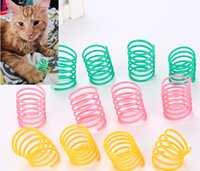 brinquedos de plástico primavera venda por atacado-Pet Wide Durável Heavy Gauge Molas De Plástico Colorido Brinquedo Do Gato jogando brinquedos para o gatinho