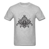 flores do pai venda por atacado-Adulto Cinza Camiseta Lotus Mandala Flor Em Círculo Moletons Pai Dia 2018 Projeto Puro Algodão Em Torno Do Pescoço Dos Homens T-Shirt