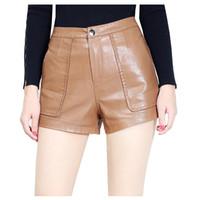 Wholesale Pu Leather Xxl Women - straight high waist slim PU short leather women 2017 new arrival 3colors S-XXL