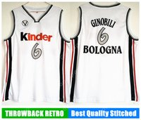 Wholesale Manu Black - HOT KINDER BOLOGNA Manu Ginóbili Ginobili 6 Jersey Mens europa Throwback Basketball Jersey retro White Vintage stitched Shirt Classic