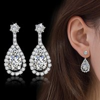Wholesale New Silver Jewelry Classic Big Water Drop Luxury Cubic Zirconia Crystal Stone Wedding Bridal Earrings For Brides E561