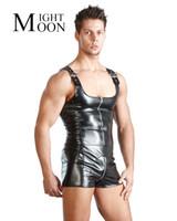 erwachsene sex kostüme für männer großhandel-Hot PU Leder Männer Sexy Overall Faux Latex Männlichen Erotischen Bühnenkostüm Sex Dessous Erwachsene Produkte