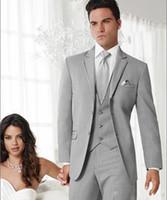 gri ustura stilleri toptan satış-Yeni Stil Açık Gri 3 Parça Suit Erkekler Düğün Smokin Moda Damat Smokin Yüksek Kalite Erkekler Akşam Balo Blazer (Ceket + Pantolon + Kravat + Yelek) 1263