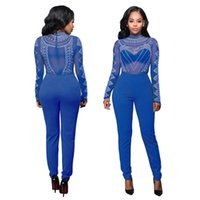 Wholesale sexy red elegant jumpsuit - 5Colors Autumn Women Jumpsuit Long Pants Romper 2018 Mesh Studded Turtleneck Solid Sexy Night Club Elegant Slim Jumpsuits Overall WCB0601