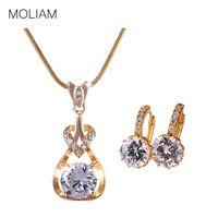 joyería de cristal blanco de la joyería fija al por mayor-MOLIAM Conjuntos de joyas de boda para novias Color oro blanco Zirconia Pendiente de cristal Colgante Collar Conjunto de joyas MLE006a + MLP010a