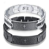 браслет из нержавеющей стали оптовых-Black Cross Bracelet Stainless Steel Men Jewelry Pulseiras Heavy Metal Vintage English Bible Bracelets Bangles Mens Jewellery