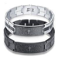 edelstahl armband bibel groihandel-Schwarz-Kreuz-Armband-Edelstahl-Männer Schmuck Pulseiras Heavy Metal Klassiker englische Bibel-Armband-Armbänder der Männer Schmuck