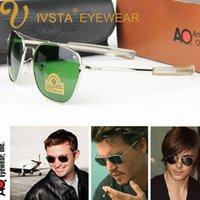 ingrosso occhiali da sole ao-IVSTA Pilot Occhiali da sole da uomo American Army Military Brand Driving AO Occhiali da sole per obiettivi in vetro maschio Lega CE FDA