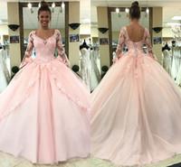 doğum günü partisi ışıkları toptan satış-2019 Açık Pembe Quinceanera Elbiseler Uzun Kollu Balo Prenses Tatlı 16 Doğum Günü Tatlı Kızlar Balo Parti Özel Durum Törenlerinde