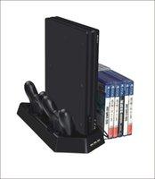 controlador ps4 más frío al por mayor-venta caliente Vertical Stand 2 Ventiladores de Enfriamiento Cargador de Carga Estación de Carga con 14 Discos CD de Juegos de Almacenamiento para PS4 / PS4 Slim / PS4 Pro