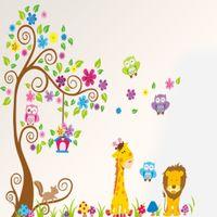 Wholesale Giraffe Baby Rooms - Cartoon DIY Animal Giraffe Owls Lion Under Tree Wall Sticker Removable Vinyl Art Kids Baby Nursery Room Decals